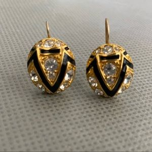 KJL Gold Black Enamel Crystal Domed Earrings